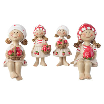 Image of Set of 4 Strawberry Girl Figurine Garden Ornaments (Set of 4)