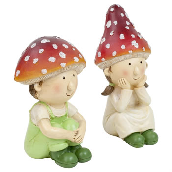 Image of Mushroom Twin Pixie Children Garden Ornament Set of 2 (Small)