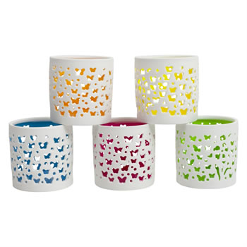 Image of Set of 5 White & Bright Coloured Porcelain Tea Light Holders with Butterflies