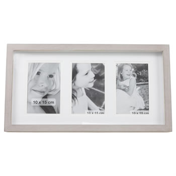 Image of Triple 10x15cm Aperture Shabby Wood Photo Frame