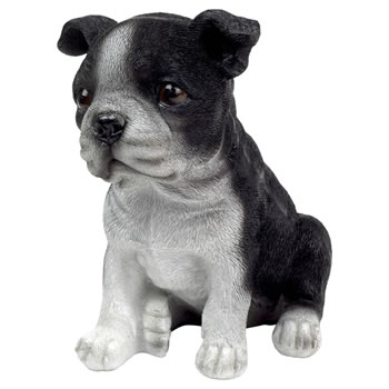 Image of Realistic 16cm Sitting Boston Terrier Puppy Dog Garden Ornament