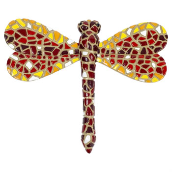 Image of Red Mosaic Dragonfly Garden Wall Art Ornament (1 x Red)