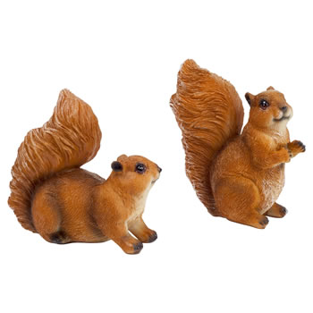 Image of Set of 2 Small Red Squirrel Garden Animal Ornaments