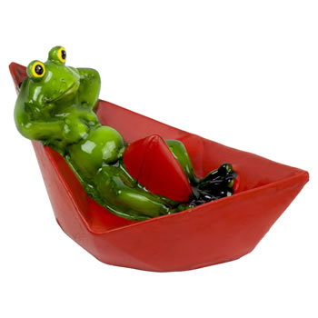 Image of Floating Frog on a Boat Garden Pond Ornament (Red)