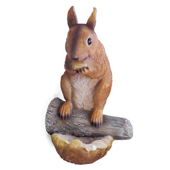 Image of Earl the Realistic Nut-Eating Garden Squirrel Ornament for Tree or Wall Mount