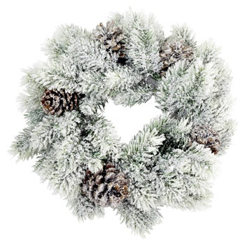 Image of 25cm Artificial Snowy Fir Christmas Wreath with Pine Cones