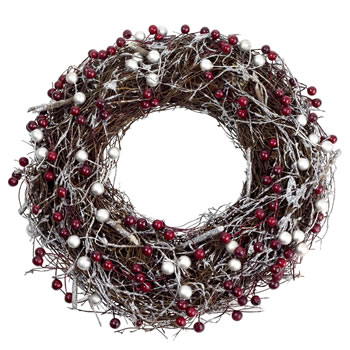 Image of Silver Glitter & Red Berry 28cm Woven Twig Christmas Wreath