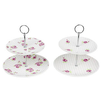 Image of Two-Tier Vintage Pink Rose Ceramic Cake Stands (Set of 2)