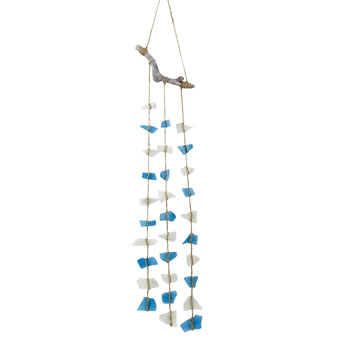 Image of Glass Hanging Garden Windchime Nautical Ornament (Blue)