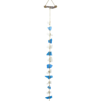 Image of 1m Hanging Glass Garland Nautical Ornament for Home or Garden (Blue)