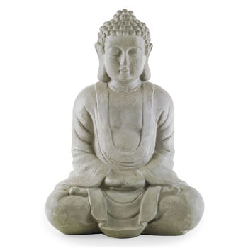 Image of 38cm Sitting Grey Stone Look Resin Garden Buddha Ornament