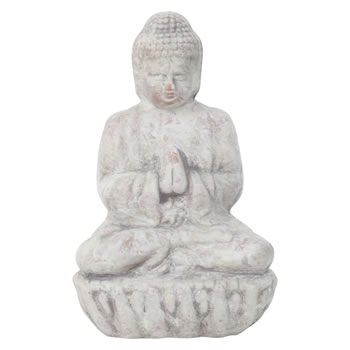 Image of Small 17cm Grey Terracotta Sitting Buddha Statue Garden or Home Ornament