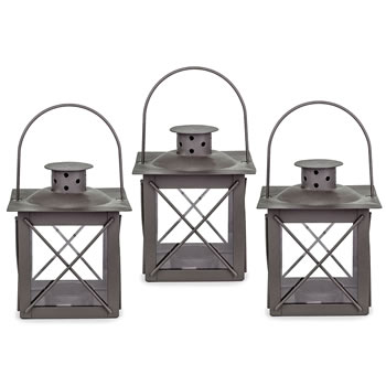 Image of Set of Three Small 'Farol' Garden Lanterns in Charcoal Grey Metal
