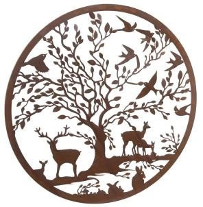 Image of Wonderful Rustic Round Steel Garden Metal Deer and Woodland Animals Screen 1m diameter - ideal as a screen or wall mounting and for climbing plants!