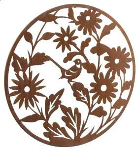 Image of Wonderful Rustic Round Steel Garden Metal Flower Screen 1m diameter - ideal as a screen or wall mounting and for climbing plants!