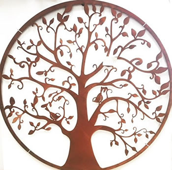 Image of Wonderful Rustic Round Steel Garden Metal Tree Screen 1m diameter - ideal as a screen or wall mounting and for climbing plants! New design this season