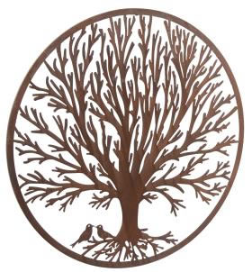 Image of Wonderful Rustic Round Steel Metal Winter Tree Screen Wall art - 1m diameter