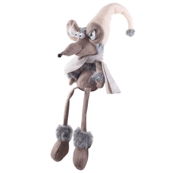 Image of Merville the 60cm Shelf Edge Sitting Fabric Christmas Mouse Ornament with Grey Scarf