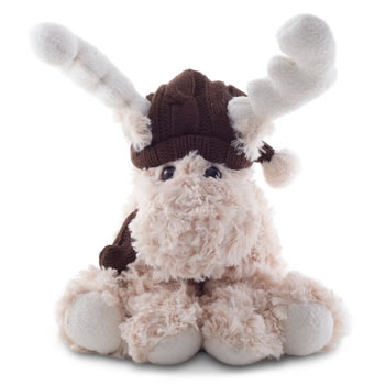 Image of Reece the 23m Cream Plush Fabric Sitting Christmas Reindeer Decoration