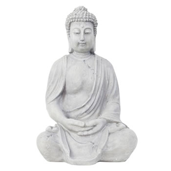 Image of 40cm Grey Stone Look Fibreclay Sitting Buddha Statue Garden Sculpture