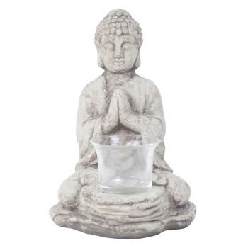 Image of 18cm Grey Terracotta Sitting Buddha Tealight Holder Garden or Home Ornament