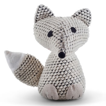 Image of Knitted Look Cream Fabric Fox Doorstop Home Accessory