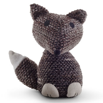 Image of Knitted Look Brown Fabric Fox Doorstop Home Accessory