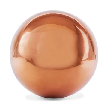 Image of Polished Copper Stainless Steel 18cm Garden Sphere Gazing Ball Ornament