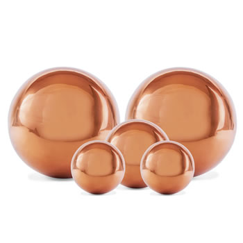Image of Set of Five Copper Stainless Steel Garden Sphere Ornaments 2.5, 3 and 5cm