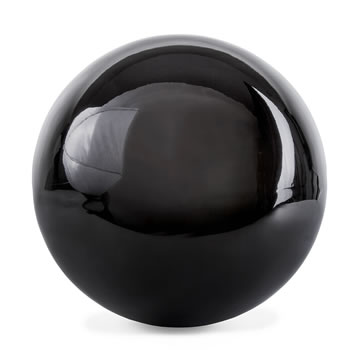 Image of Polished Black Stainless Steel 18cm Garden Sphere Gazing Ball Ornament
