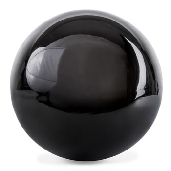 Image of Polished Black Stainless Steel 25cm Garden Sphere Gazing Ball Ornament