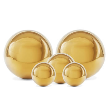 Image of Set of Five Gold Stainless Steel Garden Sphere Ornaments 2.5, 3 and 5cm