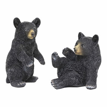 Image of Set of 2 Black Bear Animal Garden Ornaments