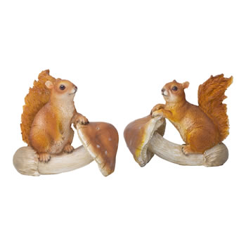 Image of Set of 2 Squirrels on Mushrooms Polyresin Garden Ornaments