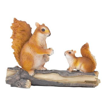 Image of Realistic Red Squirrels on a Log Garden Ornament