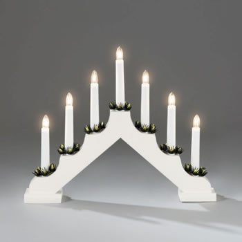 Image of Konstsmide White Wooden Candlebridge Lights with 7 Candles (2262-210EE)
