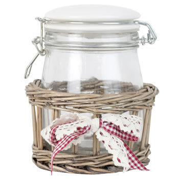 Image of 17cm Shabby Chic Glass Storage Mason Jar in Wicker Basket