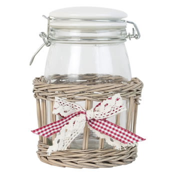 Image of 19cm Shabby Chic Glass Storage Mason Jar in Wicker Basket