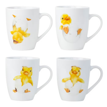 Image of Set of 4 Spring Chick White Porcelain Tea & Coffee Mugs