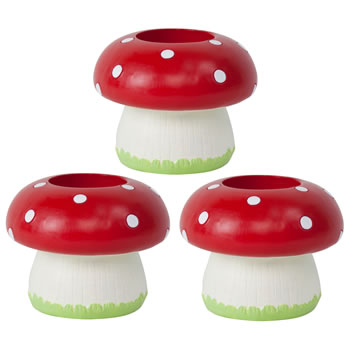 Image of Set of 3 Bright Red Resin Mushroom Toadstool Tealight Holder Ornament