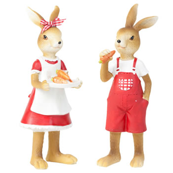 Image of Jack & Molly the Standing Easter Bunny Rabbit Figurine Ornaments