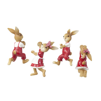 Image of The Burrows Family - Set of 4 Pot Hanger Rabbit Garden Ornaments