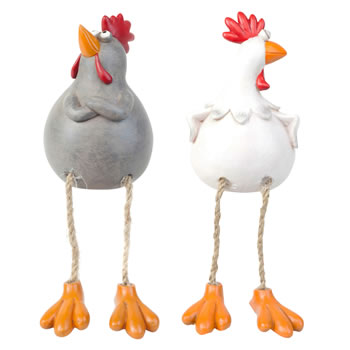 Image of Susan & Walter the Dangly Leg Edge-Sitting Chicken Ornaments