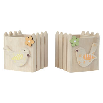 Image of Set of 2 Wooden Picket Fence Spring Bird Tealight Holders
