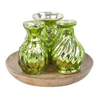 Image of Vintage Style Green Glass 3pc Vase Set on Wooden Tray