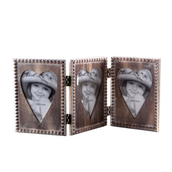 Image of Wooden Folding Hinged Triple Heart Picture Frame Home Decoration