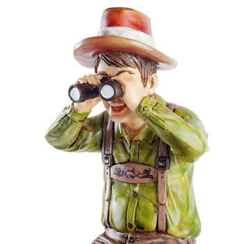 Extra image of Nosey Neighbour Man Figurine Garden Ornament on a Stake