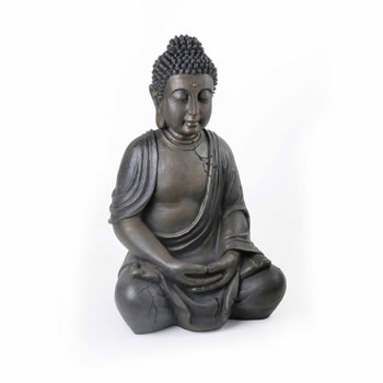 Image of Large Detailed Stone Look Resin Buddha Statue Ornament