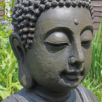 Extra image of XXL Detailed Stone Look Resin Buddha Garden Ornament 68cm