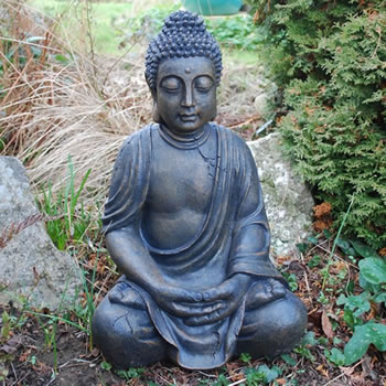 Image of Large Detailed Stone Look Resin Buddha Garden Ornament